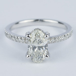 Delicate Pave Engagement Ring with Oval Diamond - small