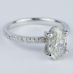 Delicate Pave Engagement Ring with Oval Diamond - small angle 3