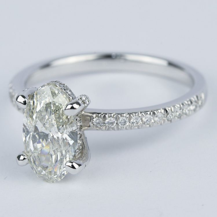 Delicate Pave Engagement Ring with Oval Diamond angle 2