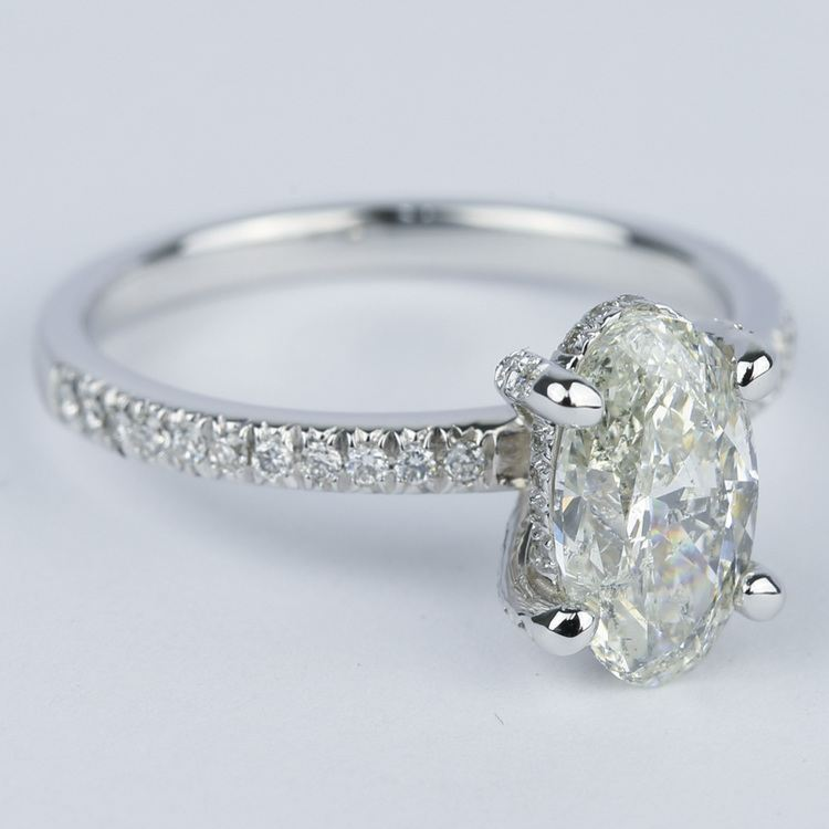 Delicate Pave Engagement Ring with Oval Diamond angle 3