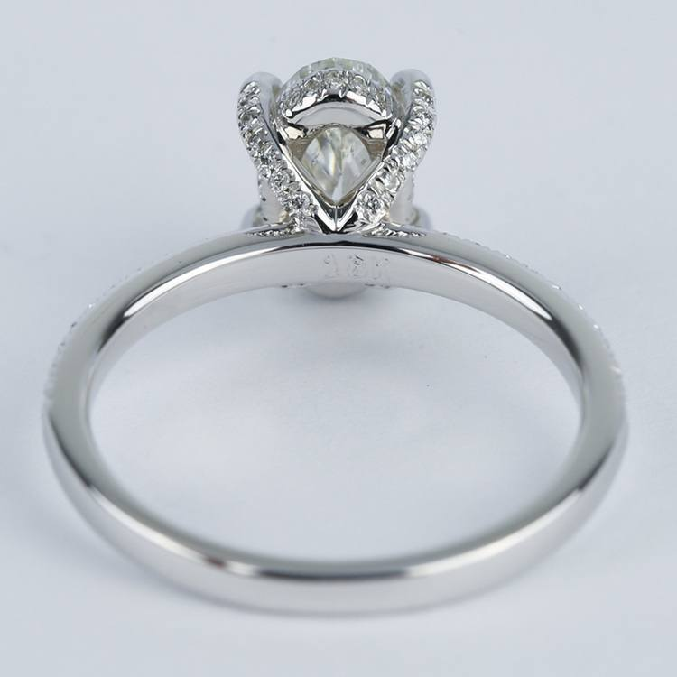 Delicate Pave Engagement Ring with Oval Diamond angle 4