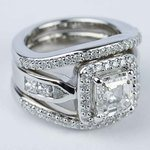 Asscher Diamond Engagement Ring with Matching Diamond Bands - small angle 3
