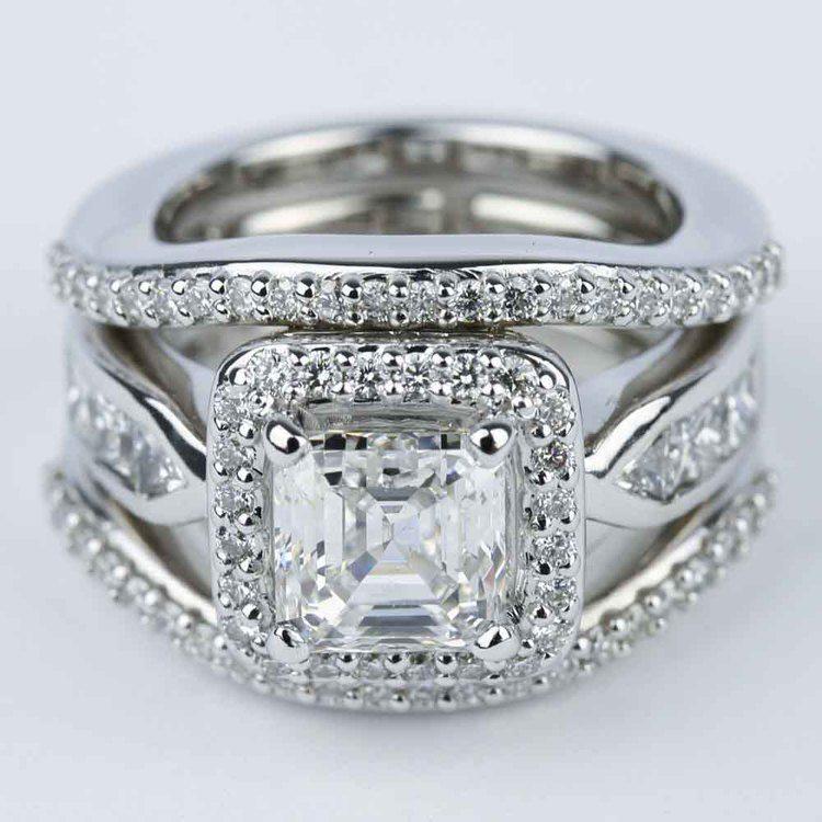 Asscher Diamond Engagement Ring with Matching Diamond Bands