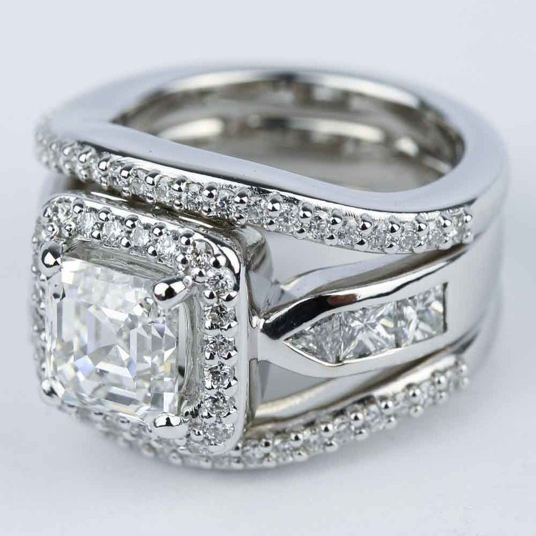 Asscher Diamond Engagement Ring with Matching Diamond Bands angle 2