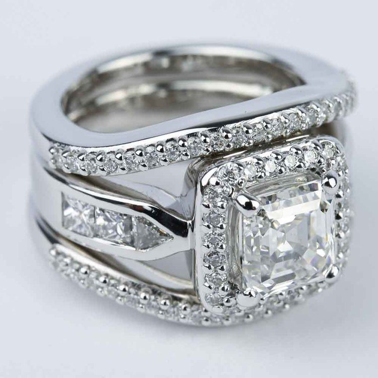 Asscher Diamond Engagement Ring with Matching Diamond Bands angle 3