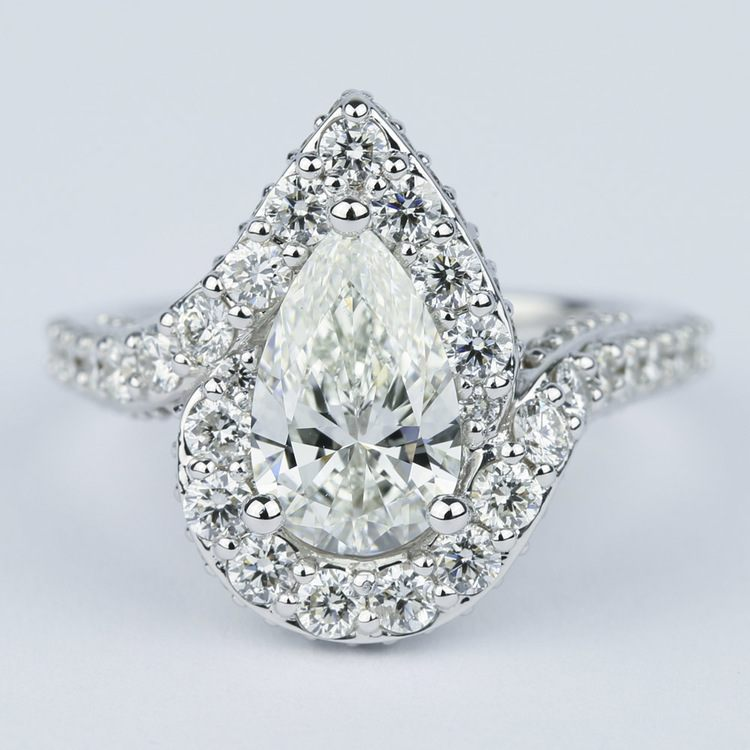 Halo Pear Diamond Engagement Ring with Vintage Detail (1.81 ct.)