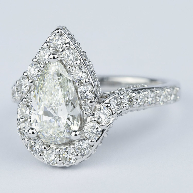 Halo Pear Diamond Engagement Ring with Vintage Detail (1.81 ct.) angle 2