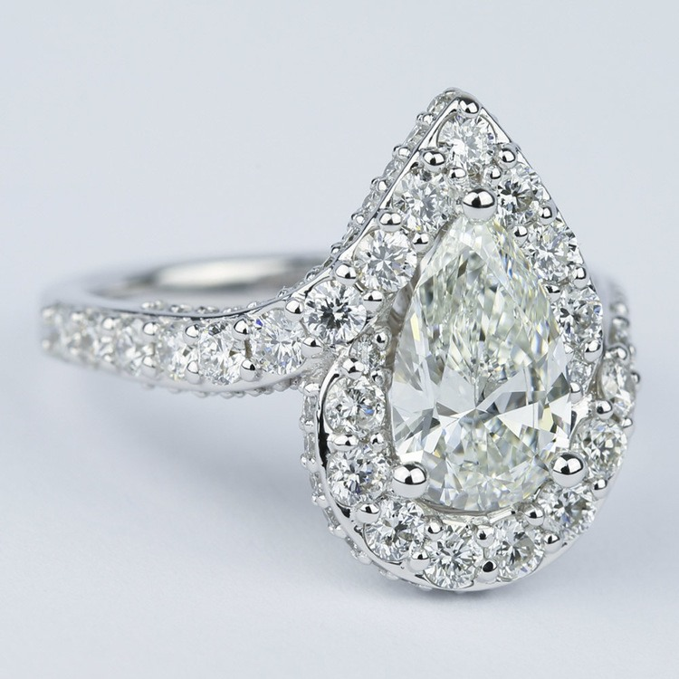 Halo Pear Diamond Engagement Ring with Vintage Detail (1.81 ct.) angle 3