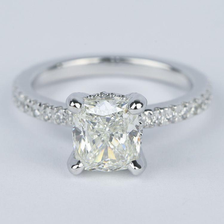 Cushion Diamond Engagement Ring with Diamond Prongs