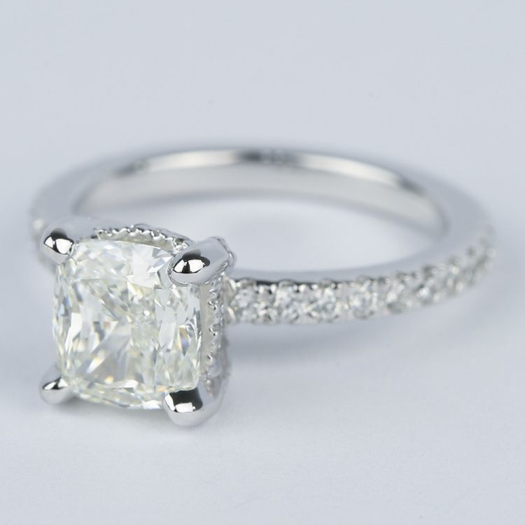 Cushion Diamond Engagement Ring with Diamond Prongs angle 2