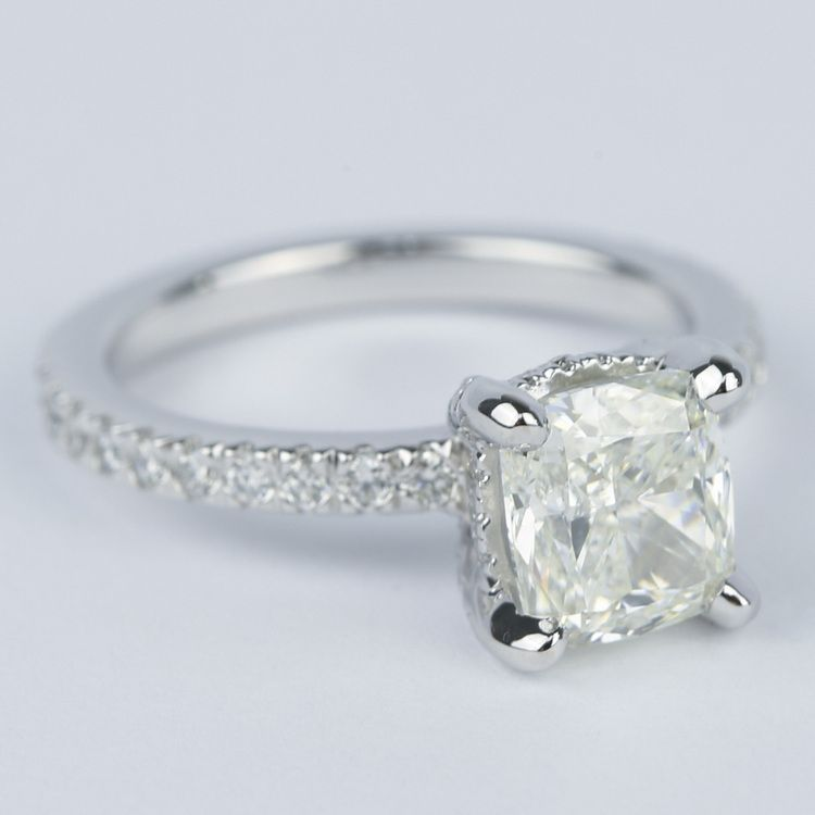 Cushion Diamond Engagement Ring with Diamond Prongs angle 3