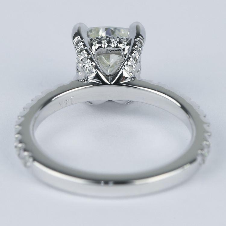 Cushion Diamond Engagement Ring with Diamond Prongs angle 4