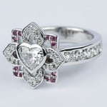 Custom Heart Diamond and Pink Sapphire Engagement Ring - small angle 2