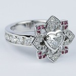 Custom Heart Diamond and Pink Sapphire Engagement Ring - small angle 3