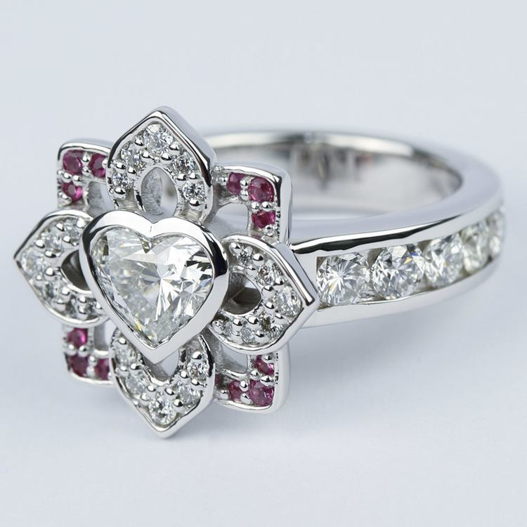 Custom Heart Diamond and Pink Sapphire Engagement Ring angle 2
