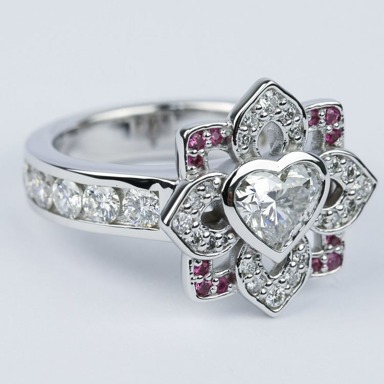 Custom Heart Diamond and Pink Sapphire Engagement Ring angle 3