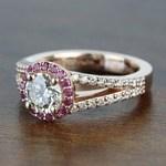 Custom 1 Carat Split Shank Round Spinel & Diamond Halo Engagement Ring - small angle 2