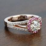 Custom 1 Carat Split Shank Round Spinel & Diamond Halo Engagement Ring - small angle 3