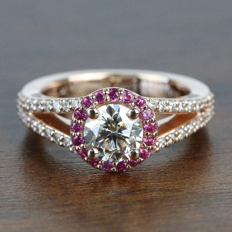 Custom 1 Carat Split Shank Round Spinel & Diamond Halo Engagement Ring