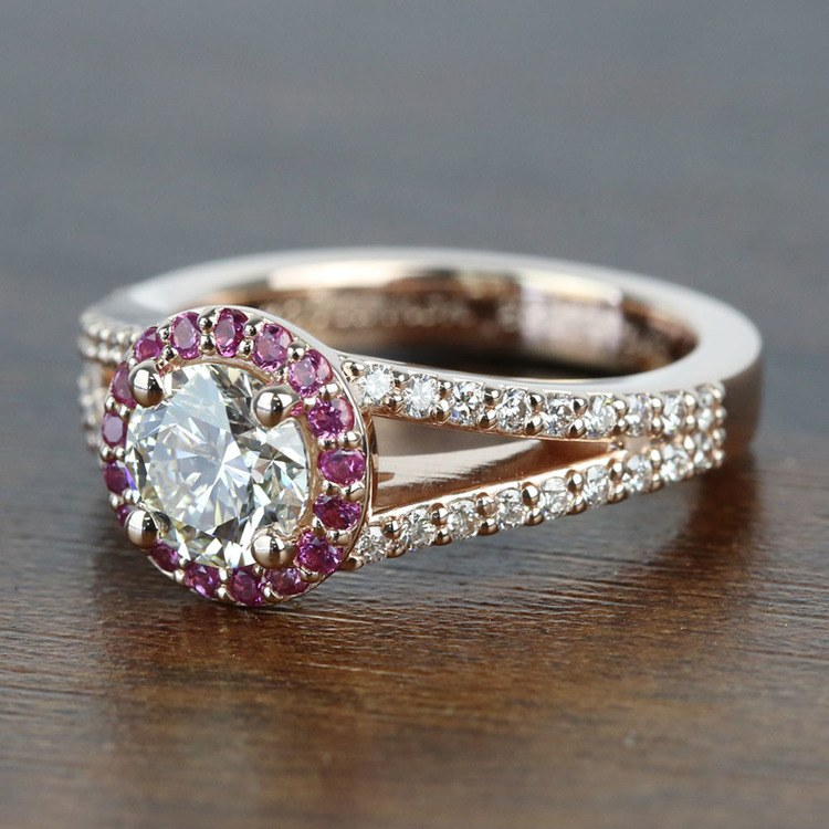 Custom 1 Carat Split Shank Round Spinel & Diamond Halo Engagement Ring angle 2