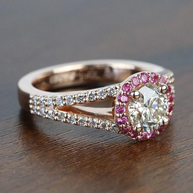 Custom 1 Carat Split Shank Round Spinel & Diamond Halo Engagement Ring angle 3