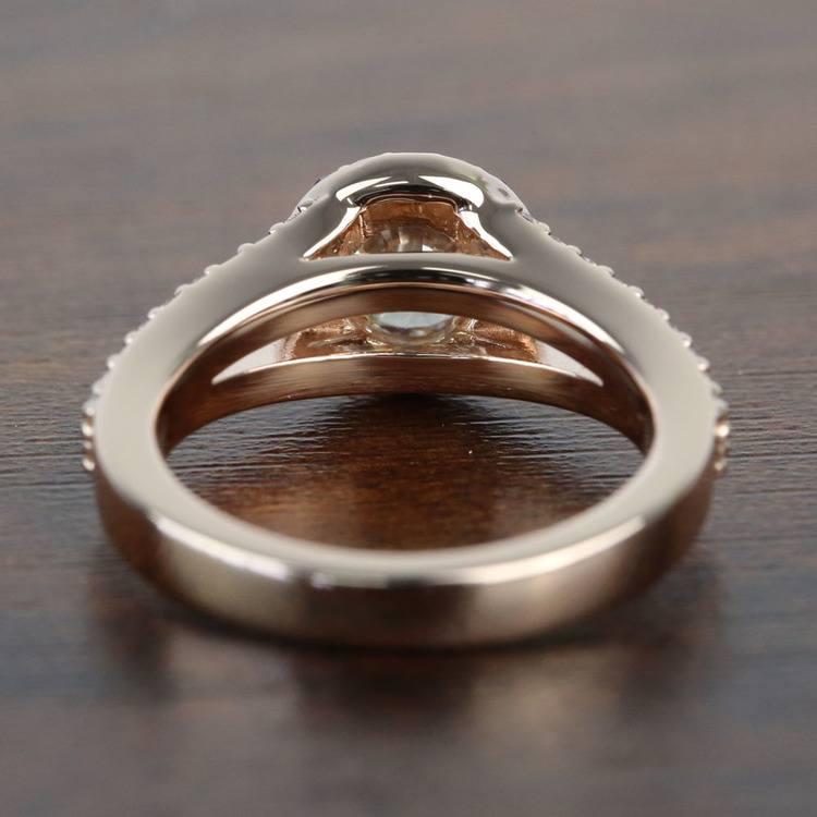 Custom 1 Carat Split Shank Round Spinel & Diamond Halo Engagement Ring angle 4