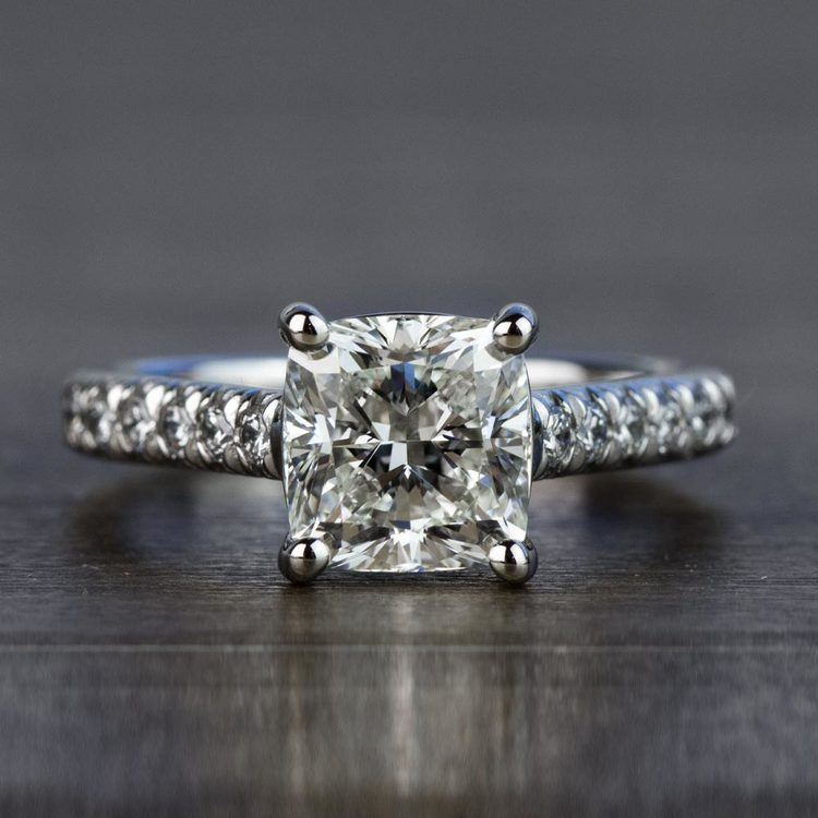 Custom 2.00 Carat Cushion Diamond Engagement Ring in Platinum