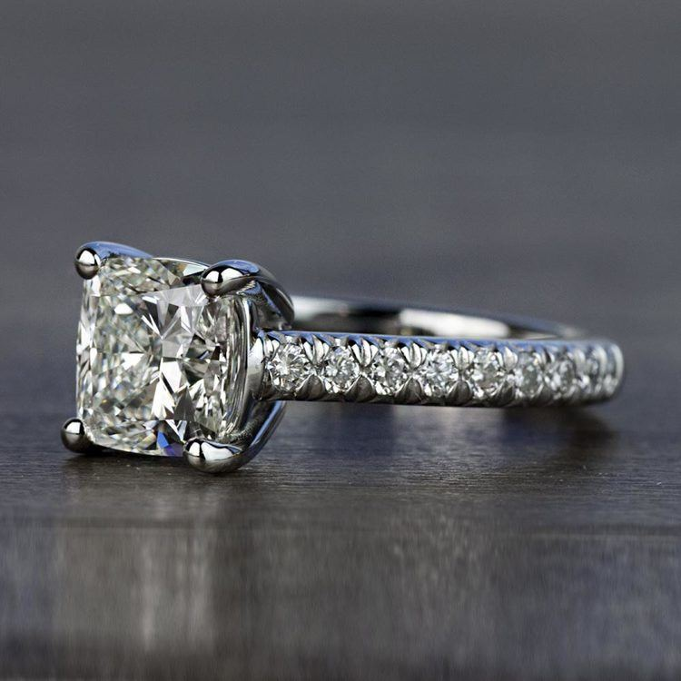 Custom 2.00 Carat Cushion Diamond Engagement Ring in Platinum angle 2