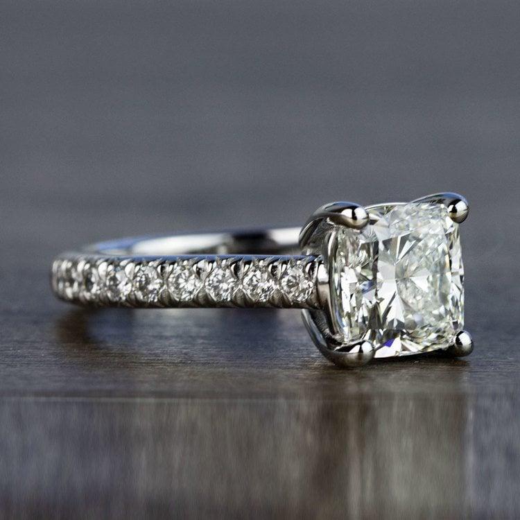 Custom 2.00 Carat Cushion Diamond Engagement Ring in Platinum angle 3