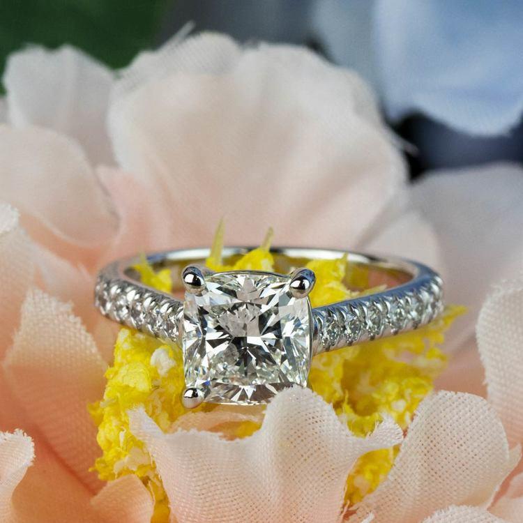 Custom 2.00 Carat Cushion Diamond Engagement Ring in Platinum angle 5