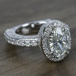 Custom Three-Sided Oval Diamond Engagement Ring (2.50 Carat) - small angle 3