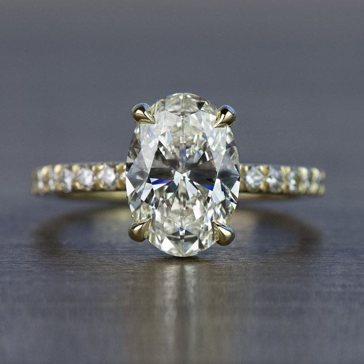 Custom 2.50 Carat Oval Diamond Hidden Halo Engagement Ring