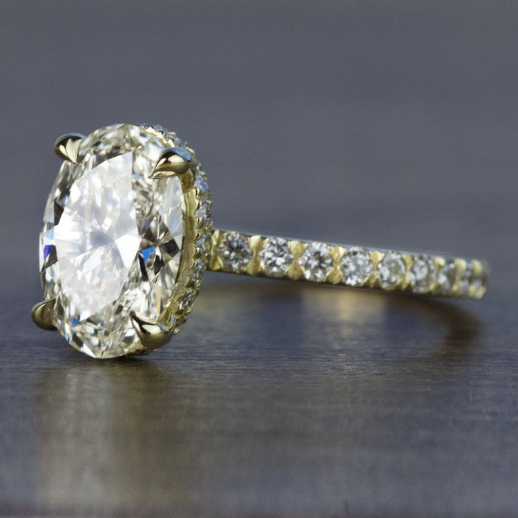 Custom 2.50 Carat Oval Diamond Hidden Halo Engagement Ring angle 2