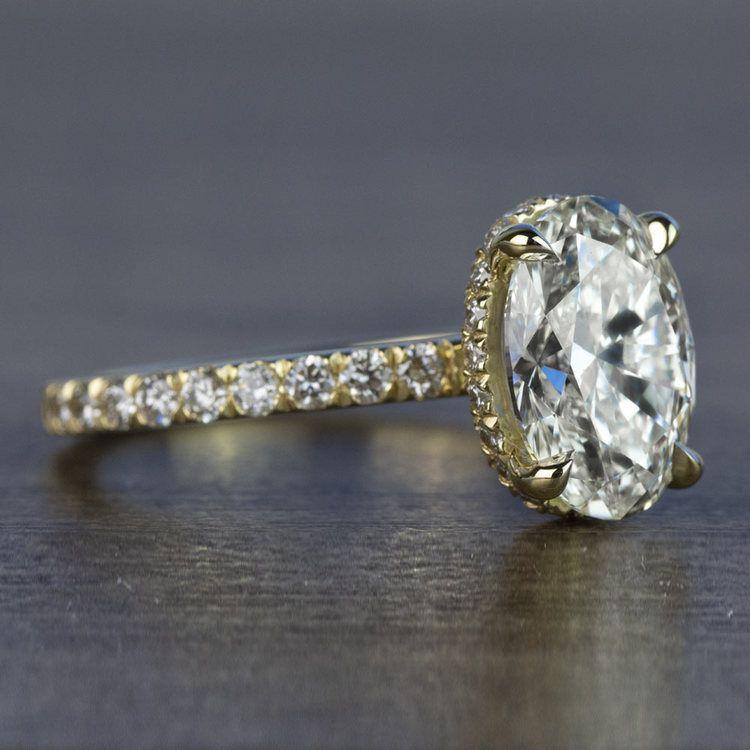 Custom 2.50 Carat Oval Diamond Hidden Halo Engagement Ring angle 3
