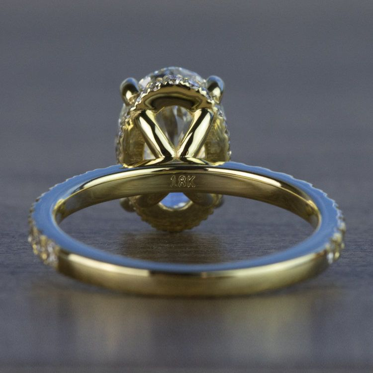 Custom 2.50 Carat Oval Diamond Hidden Halo Engagement Ring angle 4