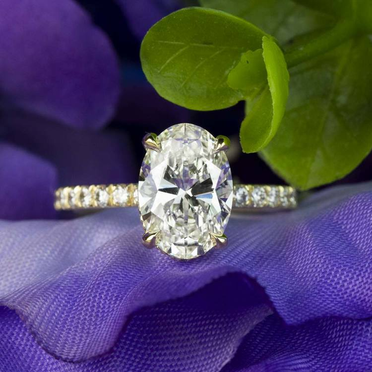 Custom 2.50 Carat Oval Diamond Hidden Halo Engagement Ring angle 5