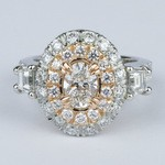 Rose Gold & Platinum Double Halo Diamond Engagement Ring - small