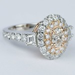 Rose Gold & Platinum Double Halo Diamond Engagement Ring - small angle 3