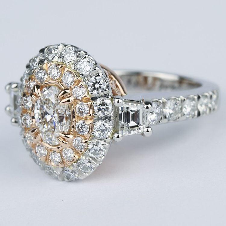 Rose Gold & Platinum Double Halo Diamond Engagement Ring angle 2