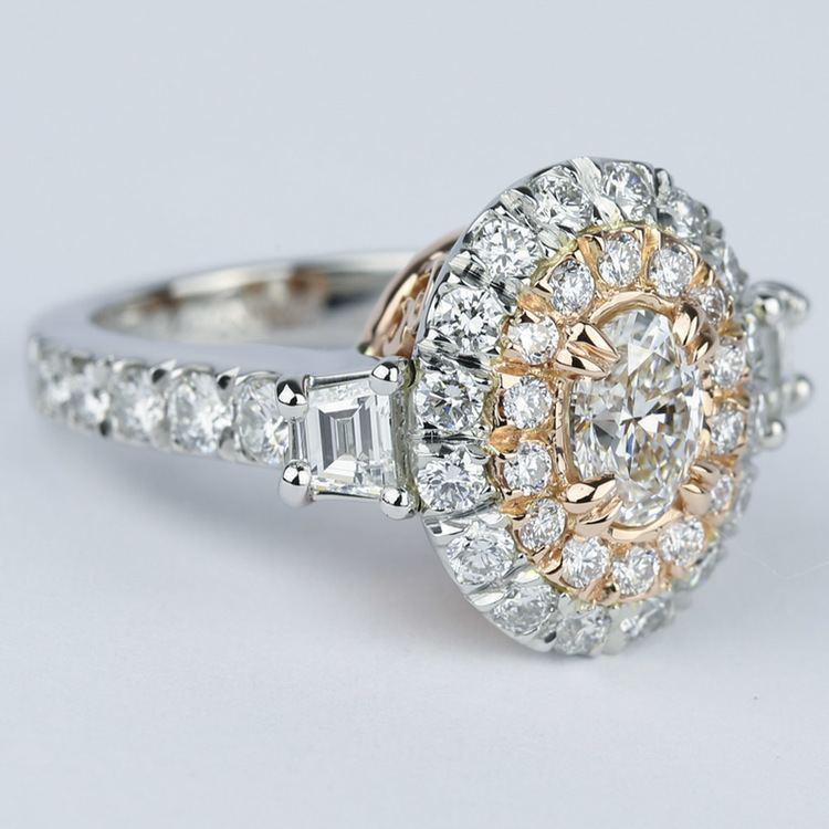 Rose Gold & Platinum Double Halo Diamond Engagement Ring angle 3