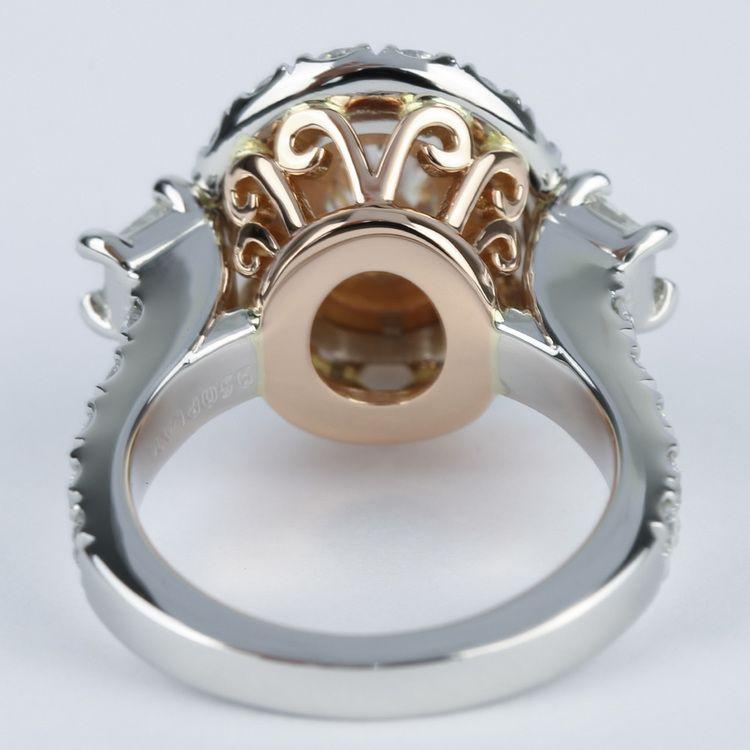 Rose Gold & Platinum Double Halo Diamond Engagement Ring angle 4