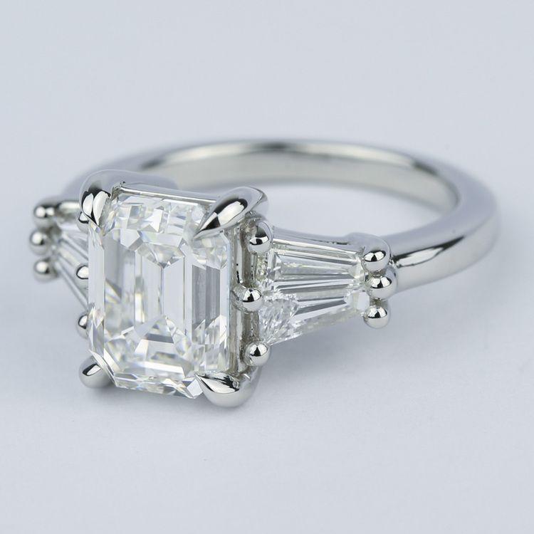 Custom Double Baguette Emerald Diamond Ring angle 2