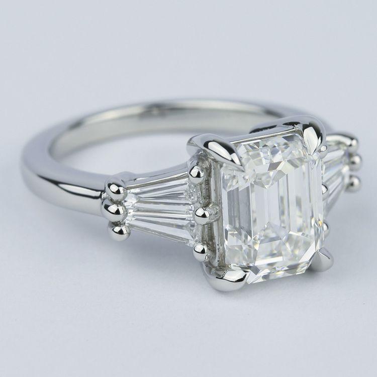 Custom Double Baguette Emerald Diamond Ring angle 3
