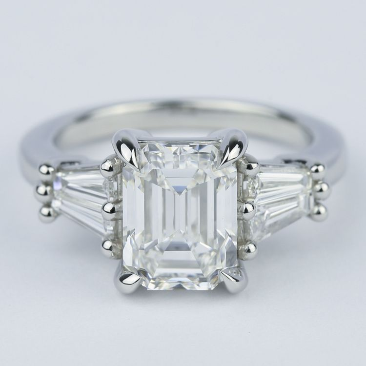 Custom Double Baguette Emerald Diamond Ring