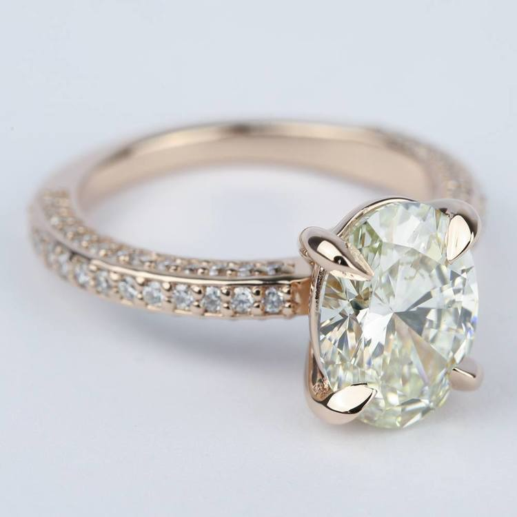 Three-Sided Oval Diamond Engagement Ring in Rose Gold (3 Carat) angle 3