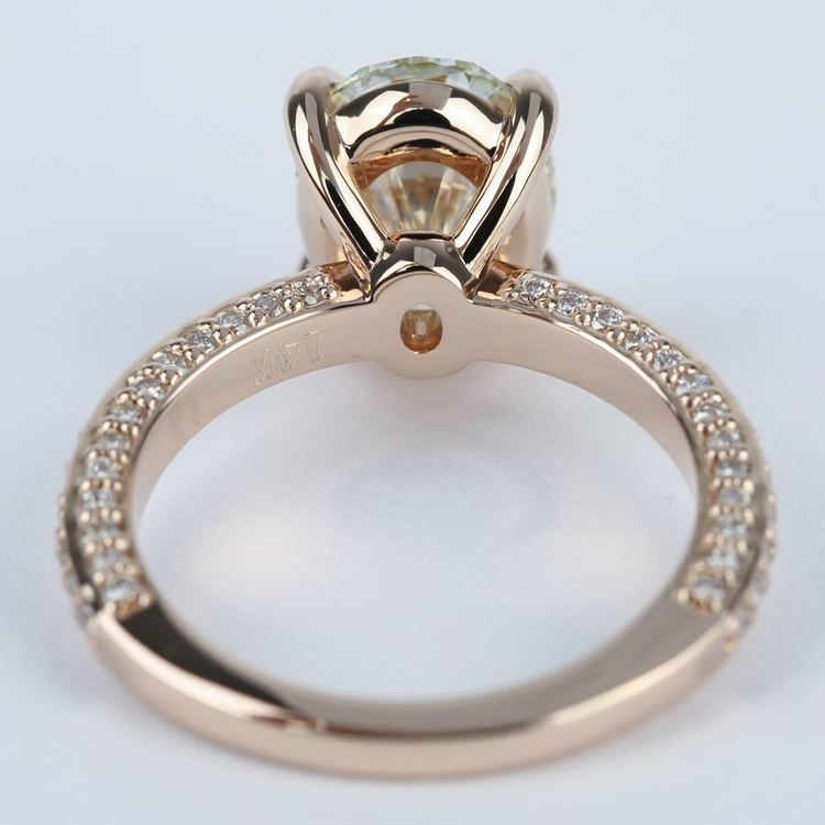 Three-Sided Oval Diamond Engagement Ring in Rose Gold (3 Carat) angle 4