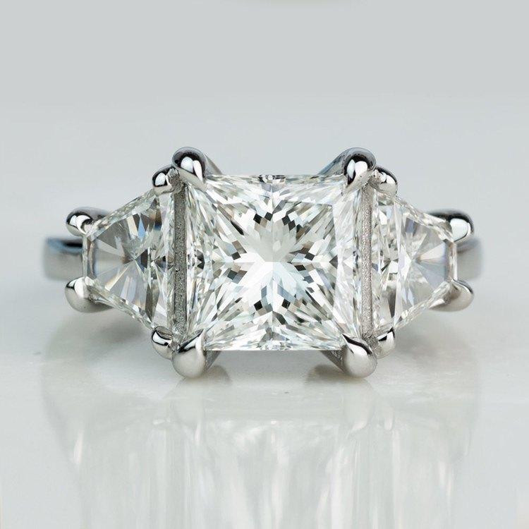 Custom 3.02 Carat Princess Three Stone Diamond Engagement Ring In Platinum