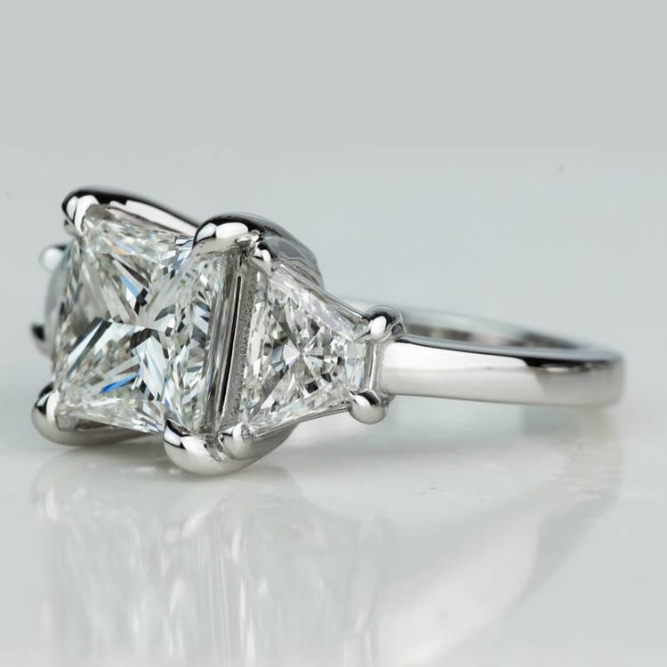 Custom 3.02 Carat Princess Three Stone Diamond Engagement Ring In Platinum angle 2