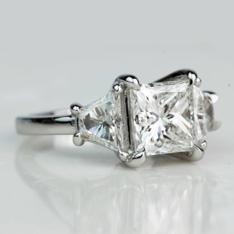 Custom 3.02 Carat Princess Three Stone Diamond Engagement Ring In Platinum angle 3