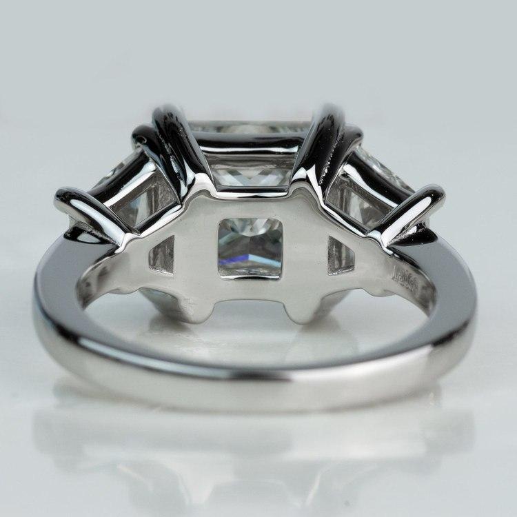 Custom 3.02 Carat Princess Three Stone Diamond Engagement Ring In Platinum angle 4